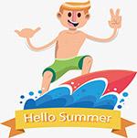 夏天你好海滩休闲冲浪