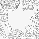 手绘东方美食插画矢量