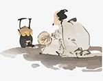 手绘水墨画煮茶老人