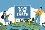 绿化环保地球卡通人物