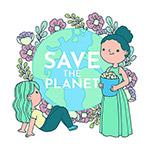 卡通女孩关爱地球环保