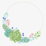 彩手绘绿色植物边框