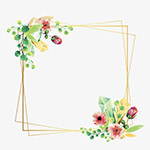 鲜花框矢量图