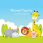 卡通丛林动物插图