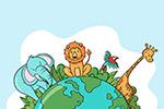 手绘世界动物日背景