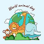 世界动物日手绘插图