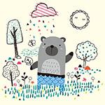 花园中的熊插图矢量