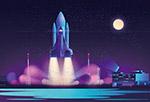 航天火箭夜间发射矢量