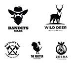 动物剪影远山标志