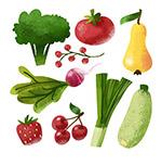 水彩蔬菜和水果