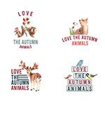 秋天和动物标志