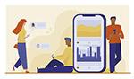 智能手机用户在线聊天矢量