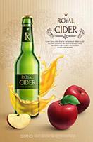 矢量苹果酒广告