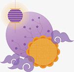 紫色祥云中秋月饼