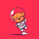 卡通宇航员小熊插画