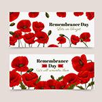 纪念日红色花卉横幅