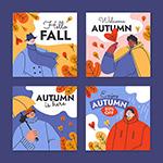 手绘平面秋季卡片