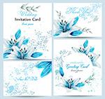 蓝百合水彩婚礼卡片