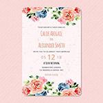 水彩花卉婚礼请柬模板