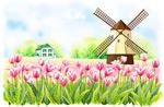 花朵风车插画