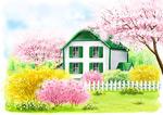 花丛中小房子插画