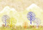 秋季手绘树插画