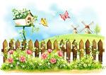 栅栏花朵插画