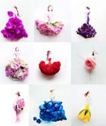 手绘花朵人物插画