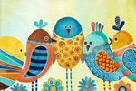 抽象小鸟插画