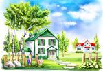树林里的房子插画