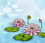 手绘水彩荷花插画