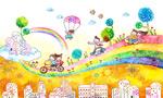 儿童节水彩插画