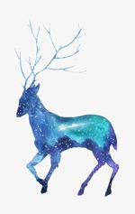 星空剪影鹿插画