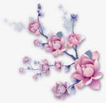 粉色手绘花朵树枝