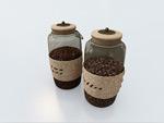 咖啡豆玻璃罐模型