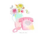 水彩花朵与电话