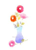 水彩花瓶插花