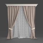 后现代窗帘模型