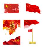 国庆红色国旗飘扬