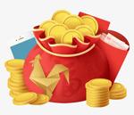 卡通钱袋红包金币