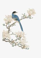 工笔画树枝花鸟