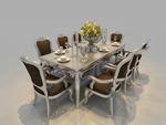 欧式餐桌家具模型