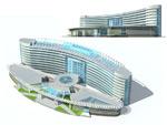弧形公建建筑模型