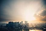日落城市建筑群