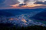 俯视日落小镇