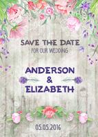 复古鲜花婚礼海报