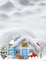 白色圣诞雪屋背景