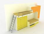 上下层床3d模型