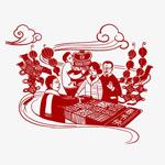 春节购物剪纸插画