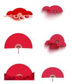 中国风红色扇子